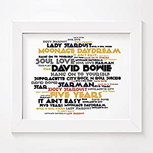 David Bowie - Ziggy Stardust and the Spiders from Mars - Signed & Numbered Limited Edition Typography Unframed 10x8 Inch Album Wall Art Print - Song Lyrics Mini Poster by LISSOME Art Studio