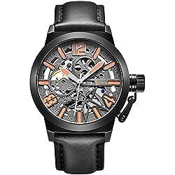 Alienwork mechanische Automatik Armbanduhr Skelett Automatikuhr Uhr grau schwarz Leder K003B-01