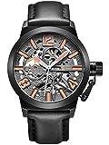 Alienwork Automatik Armbanduhr Herren Damen Uhr Leder Armband Lederarmband Lederband schwarz Automatikuhr Herrenuhr Damenuhr grau Skelett