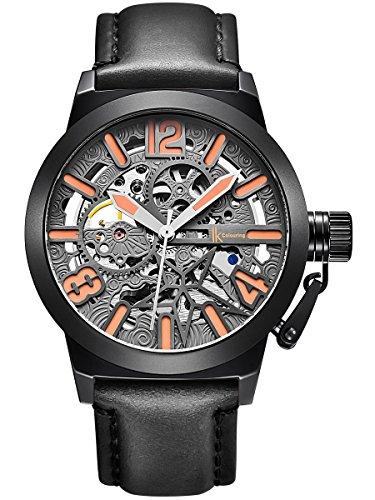 Alienwork mechanische Automatik Armbanduhr Skelett Automatikuhr Uhr Herren Uhren XXL Oversized Design Leder grau schwarz K003B-01
