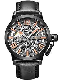 Alienwork Reloj Automático esqueleto mecánico relojes hombre XXL Oversized Diseño Piel de vaca gris negro K003B-01