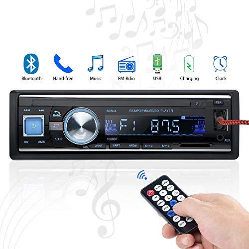 Radio de Voiture stéréo vidéo FM Radio,Besttrendy de 4x60W Poste Radio Voiture,Autoradio Bluetooth avec Télécommande + Adaptateur DIN ISO avec 2 Petits Câbles + 1 Grand Câble … (1068)