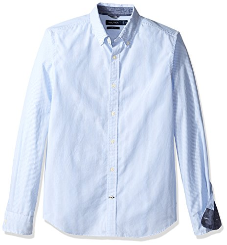 Nautica Small Bengal Stripe Slim Fit, Chemise Casual Homme LIGHT HAZE