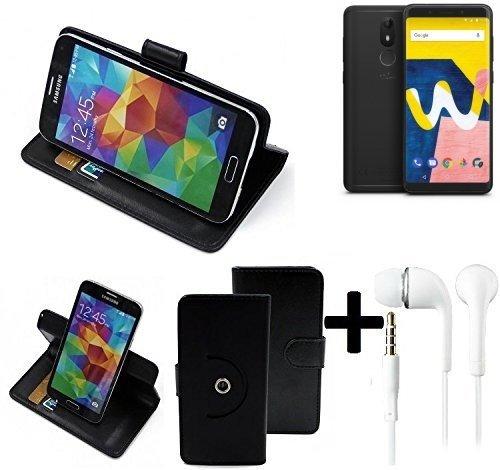 K-S-Trade® Case Schutz Hülle für Wiko View Lite + Earphones Handyhülle Flipcase Smartphone Cover Handy Schutz Tasche Walletcase schwarz (1x)