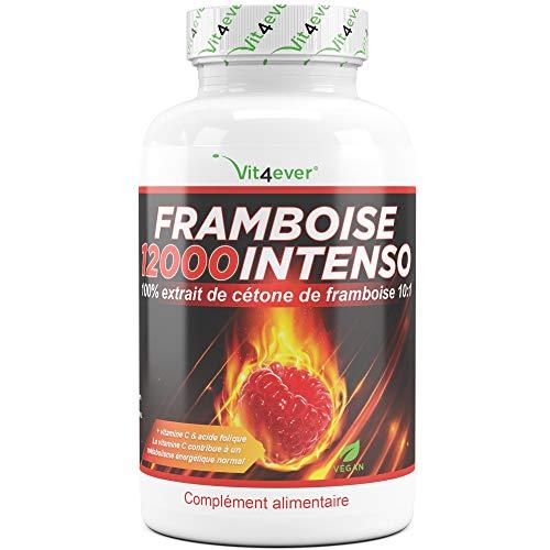 Framboise 12000 intenso - portion journalière 12000 mg - extra fort - 120 gélules + vitamine C + acide folique - cétone de framboise bruleur de graisse - Fatburner - complément de régime - métabolisme