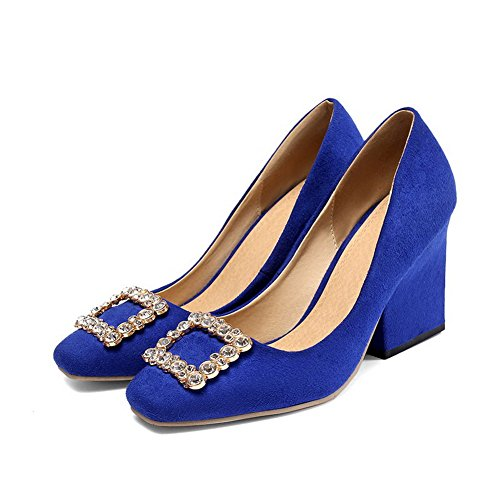 VogueZone009 Femme Couleur Unie Suédé à Talon Haut Fermeture D'Orteil Carré Tire Chaussures Légeres Bleu