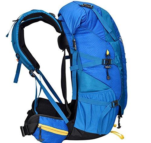 Nylon impermeabile strisce femminile borsa viaggi outdoor zaino da viaggio grande ciclismo Borse impermeabili per gli uomini e le donne 50L , green Blue