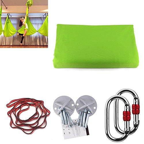 Kikigoal, amaca da yoga, amaca oscillante con carico di 500kg. misure: 500× 280cm. yoga in volo, antigravità. cinghia da yoga, cinghie di seta per yoga in volo, verde chiaro