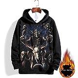 3D Skull Pattern Printing Hoodies,Men's Stereoscopic Domineering Grim Reaper Printing Sweater Large Size Loose Hooded Fir Aut