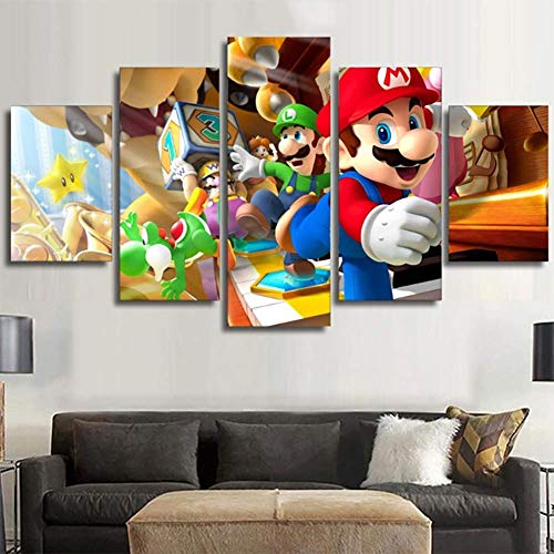 JSBVM Druck auf Leinwand Super Mario Bros Mario Poster 5 Platten Wandmalerei Giclee Kunstwerk Für Zuhause Modern Dekoration,B,30×50×2+30×70×2+30×80×1