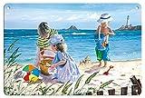 Pacifica Island Art 22cm x 30cm Vintage Metallschild - Spaß in der Sonne - Spielende Kinder am Strand - von Einem Original Vintage Retro Gemälde von Scott Westmoreland