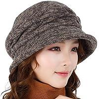Sombrero Americana Cálido Casual Curling Big Head Cap Elegante Sombrero para Mujer de otoño e Invierno (Color : B, Tamaño : L)