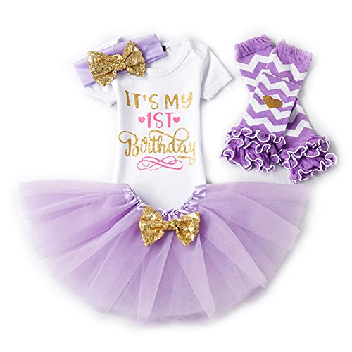 Gagacity 4pcs Newborn Infant Tutu Skirt Baby Girl Outfits 1st/2rd Birthday Letter Print Clothes Set (Romper+Skirt+Headband+Leggings)