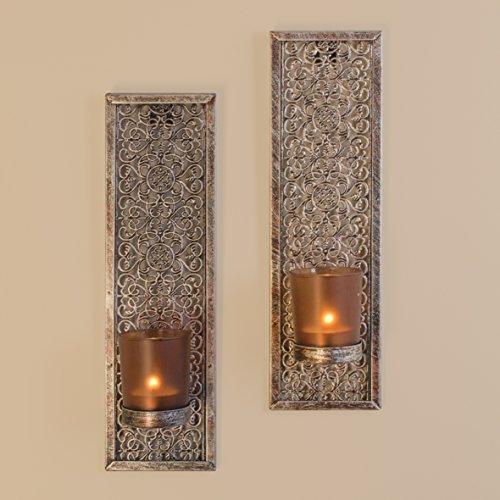 Anika–Pack de 2lámpara de pared Cristal esmerilado decorativo vela con portavelas, metal, negro,, 2piezas