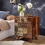 Wohnling Nachtkonsole Carved Massivholz 50x61x40 cm Vintage Beistelltisch Bunt | Design Nachtkommode Boxspringbett | Nachttisch mit Schublade | Beistellschrank mit Stauraum | Nachttischschränkchen