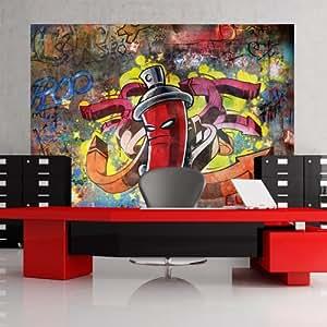 wallpaper 200x140 cm non woven murals wall mural photo 3d modern graffiti. Black Bedroom Furniture Sets. Home Design Ideas