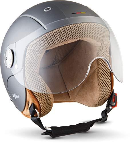 "Soxon® SK-55 ""Plus Titan"" · Kinder-Jet-Helm · Kinder-Helm Motorrad-Helm Roller-Helm Kids Scooter-Helm Vespa Bobber Mofa-Helm Chopper Retro · ECE Visier Schnellverschluss SlimShell Tasche S (53-54cm)"