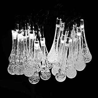 Addfun®Solar Outdoor String Lights,20FT 30LED Fairy Crystal Acrylic Rain Drop Christmas Lights for Wedding, Holiday Party, Outdoor/Home Decorations(White)