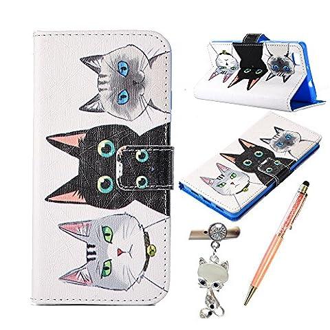Housse Huawei P8 Lite, Alfort 3 en 1 Coque / Étui de Protection à rabat Magnétique Folio en PU Cuir pour Huawei P8 Lite 5.0