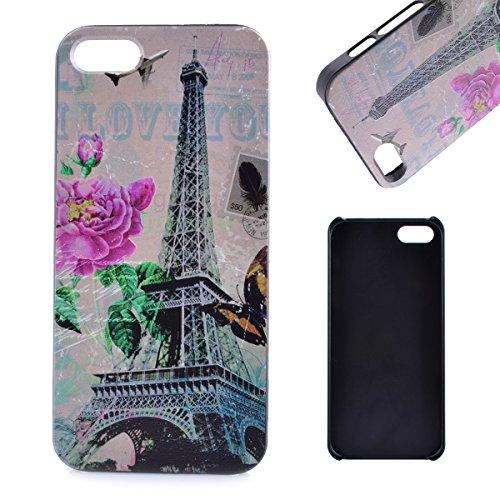 Voguecase® für Apple iPhone 5 5G 5S , (Harte Rückseite) Hybrid Hülle Schutzhülle Case Cover (Princesse) + Gratis Universal Eingabestift Turm 17