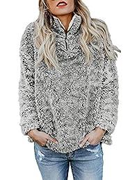 Aleumdr Womens Fashion Solid Zip Up Cozy Fuzzy Fleece Pullover Sweatshirt Coat Outwear Tops