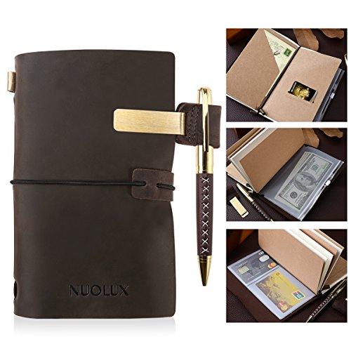 NUOLUX Leder Notizbuch Tagebuch ,Reisetagebuch,Echtes Leder Tagebuch mit Stift und Stifthalter