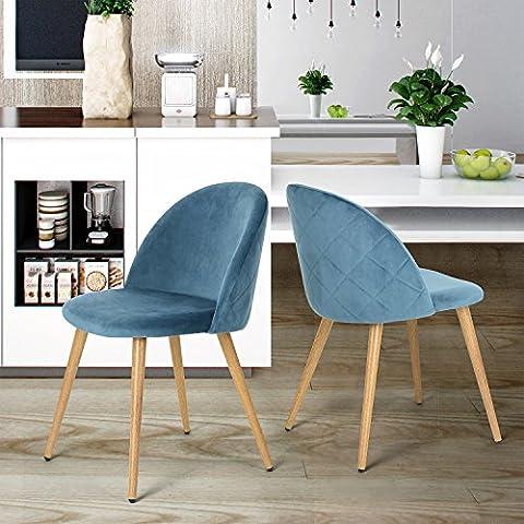 Lot de 2 Chaises pour Salle à Manger Coveas Confort Plus en Velours avec Jambes en Métal Style Bois - Bleu