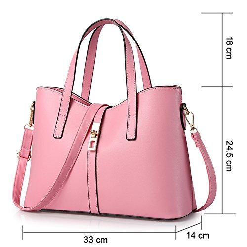 Young & Ming - Donna Borsa a spalla Borsa Tote Borsa a Mano in pelle Handbag Colore puro Rosa
