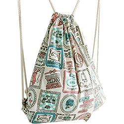 Diossad Bolso de Mujer con Cordón Lona Mochila Ocio Bolso de Viaje Backpack Deporte para Chicas