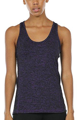icyzone Camiseta de Fitness Deportiva de Tirantes para Mujer (XXL, Morado)