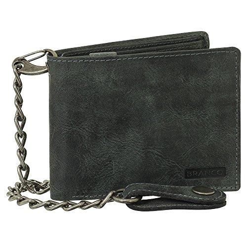 Billetera de piel de lujo de motorista con cadena