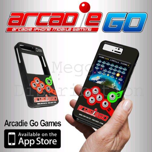 zeontech Arcadie Go Classic Retro Handheld Arcade Gaming Case aus Silikon für extra Schutz für iPhone 5/5S inkl. Gratis Spiele Download von App Store [Alien Invaders + blasteroids + Ping + Invaders + Hop Along + Stacker (Tetris)] (Aliens Arcade-spiel)