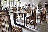 Sam Stilvoller Esszimmertisch IDA aus Akazie-Holz, Baumkantentisch mit lackierten Beinen aus Roheisen, naturbelassene Optik mit Einer Baumkanten-Tischplatte, 160 x 85 cm