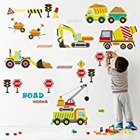 decalmile Construction Vehicles Wall Decals Kids Cars Wall Stickers Baby Nursery Boys Bedroom Playroom Wall Decor