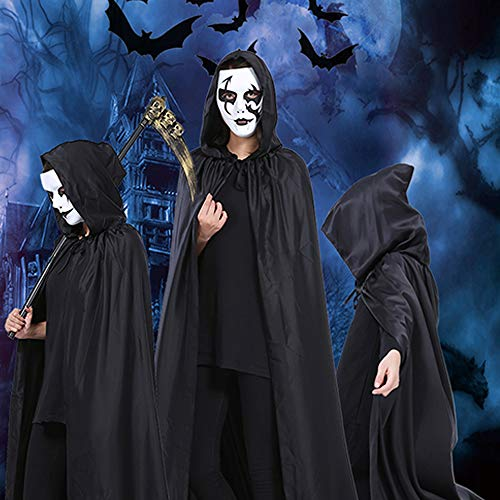 Grim Reaper Hooded Robe Kostüm - WoChaoShui Halloween Grim Reaper Cosplay Cloak,