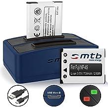 2 Baterías + Cargador doble (USB) para Fujifilm NP-45 / Finepix J.. / JV.. / JX600 ../ JZ500.. / XP80 XP90... - ver lista de compatibilidad