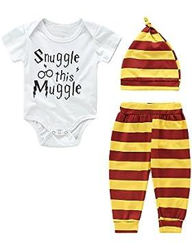 IEUUMLER Baby Mädchen Junge Kleidung Set Kurzschluss Hülsen T-Shirt und Lange Hosen mit Hut IE007