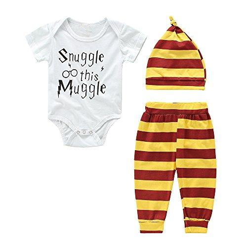 IEUUMLER Baby Mädchen Junge Kleidung Set Kurzschluss Hülsen T-Shirt und Lange Hosen mit Hut IE007 (Height:80-85CM/90) Harry-potter-hose