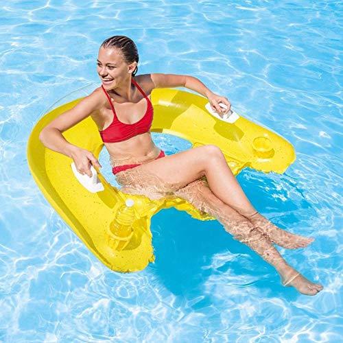OGAWOO Silla Flotante Inflable 152x99 cm Piscina Flotadores Silla de Dormir Flotante Colchón de Aire para Nadar Deportes acuáticos, Color Aleatorio