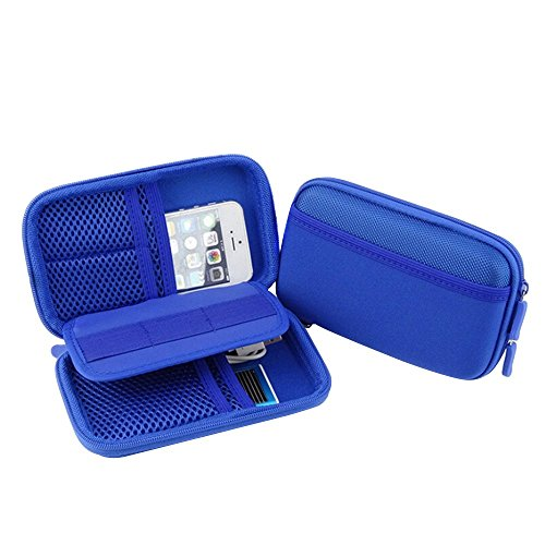 Forepin® Materiale Neoprene Universale Travel Gear Organiser Cavo Organizzatore Elettronica Accessori Custodia da Viaggio per Unità Flash USB, Schede di Memoria, Dischi Rigidi ed Altri Accessori - Blu