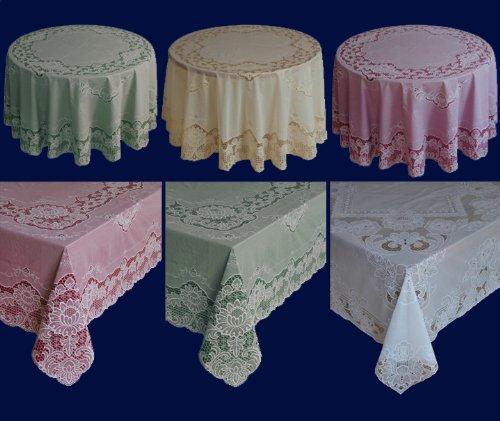 Abwaschbare Tischdecke - Gartentischdecke as Vinyl - Oval - verschiedene Größen & Farben (Creme, 150 cm x 225 cm Oval) (Oval Vinyl Spitzen Tischdecke)