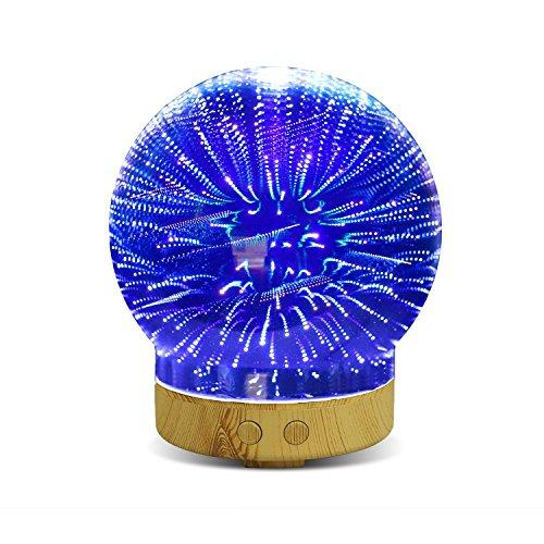 Difusor de Aceite de Vidrio Aromatherapy 3D, EONANT 100ml Aceite Esencial Ultrasonido Humidificador de Niebla Fresco con 16 Colores Cambiando la luz de noche LED