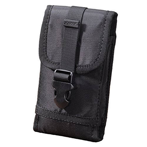 Hengying Nylon Molle Taktische Handytasche Hüfttasche Gürteltasche für iPhone 7 Plus, iPhone 6 Plus, iPhone 6S Plus, Galaxy Note 4, S8 Plus, S7 Edge, S6 Edge, Huawei G7, Mate 8, Mate 9 - Schwarz + Schlüsselanhänger (4 Gürtel Halter)