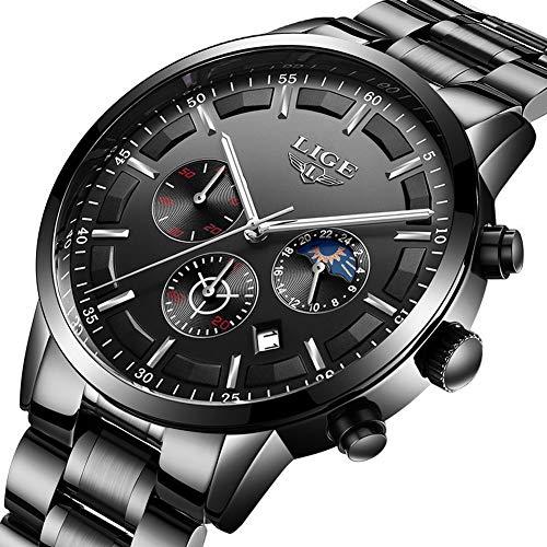 Herren-Uhr LIGE Business Analog Quarzuhr Wasserdicht Edelstahl Chronographen Uhr Schwarz