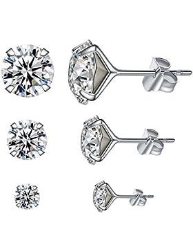925 Sterling Silber Ohrringe Damen Ohrstecker mit Swarovski Kristall (3 Paare in 4 mm, 6 mm und 8 mm) von LANMPU