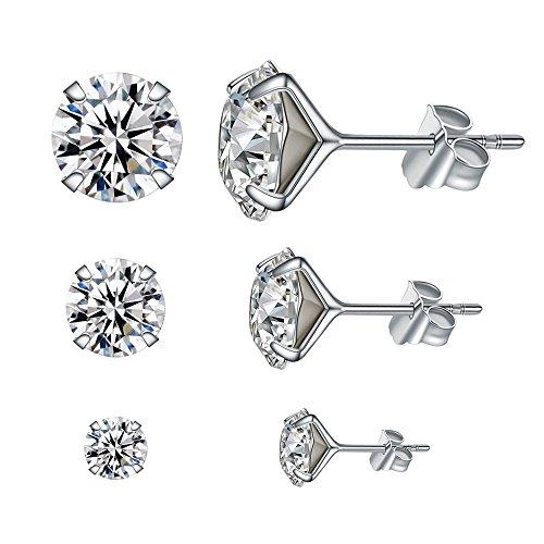 925 Sterling Silber Ohrringe Damen Ohrstecker mit Swarovski Kristall (3 Paare in 4 mm, 6 mm und 8 mm) von LANMPU - Über Nacht Zusätzlichen Schutz