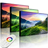 Lightbox-Multicolor | Leinwandbild mit LED Beleuchtung | Französische Berglandschaft Beim Sonnenuntergang | 100x70 cm | Front Lighted