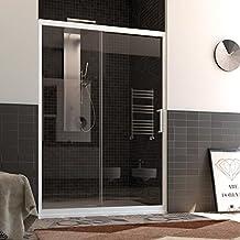 Porta Doccia Nicchia in PVC 120 CM H190 Vetro Trasparente mod. Glax 1 Anta Profilo Bianco