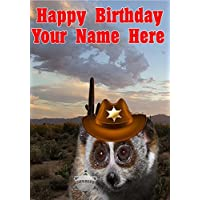 Slow Loris j773 Cowboy Sheriff Fun Cute Happy Birthday A5 Personalised Greeting card POSTED BY US GIFTS FOR ALL 2016 FROM DERBYSHIRE UK