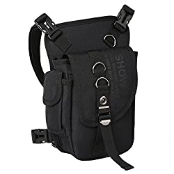 Eshow leg bag motorcycle waist pack for women & men small light waterproof black / brown nylon / canvas for cycling Outdoor Sport